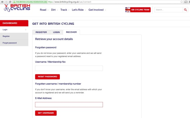 British Cycling Website Recover User Details